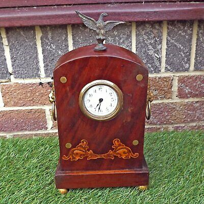 Wooden Inlaid Clock Case - French? + Ornamentation Spares Or Repair