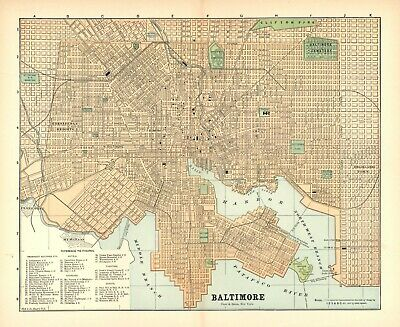 VINTAGE CITY STREET MAP: BALTIMORE, State of Maryland - Circa 1900 Colored map