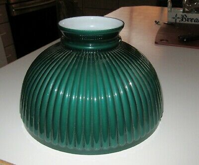 """Old 10"""" Green Cased Glass Lamp Shade~Beautiful Color~Straight Ribs~BIN"""