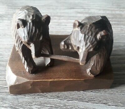 Antique  Hand Carved Wooden Black Forest Bears With Stick Signed