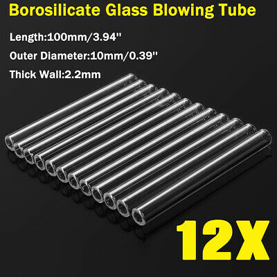 AU 12X Glass Tubing Blowing Borosilicate Pyrex Blow Tubes 100mm X 10mm X 2.2mm