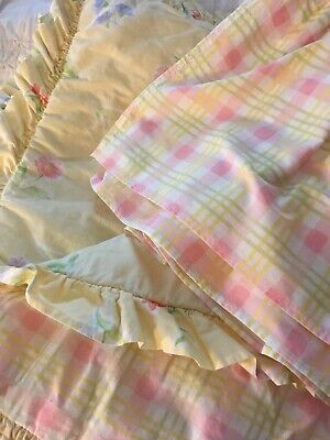 Baby Quilt Comforter Dust Ruffle Laura Ashley Mother & Child Yellow Pink