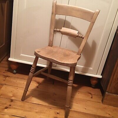 Chunky Antique Pine Kitchen Chair. Sturdy Rustic Vintage Stripped Wooden Chair