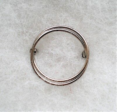 Beautiful Vintage Sterling Silver Double Circle Round Openwork Pin Brooch 2.6 g.
