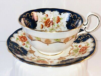 Aynsley Teacup and Saucer Colbalt with Flowers and Gold Trim