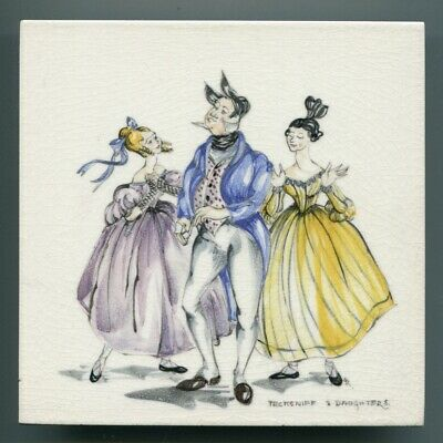 "Hand painted 6""sq tile from ""Dickens"" series by Packard & Ord, 1956"
