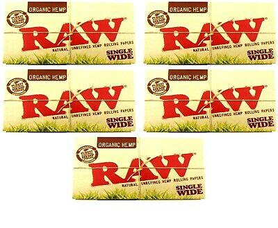 5 Packs Raw Single Wide Organic Hemp Rolling Papers Double Packs - 500 Lvs Total