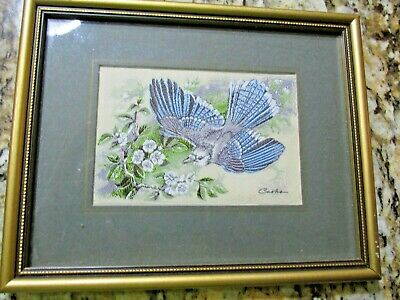 Vintage Cash's Coventry Woven Silk Framed Picture Blue Jay