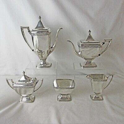 Silver Plated 5 Pc Tea And Coffee Set 1847 Rogers Art Deco Anniversary Pattern