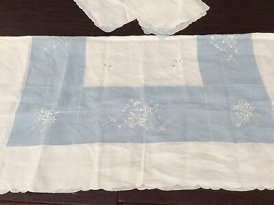 Vintage Tablecloth  & 4 Napkins Organdy Linen Embroidered Appliqué Blue White