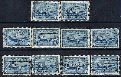 Canada #OC8(2) PERFIN 7 cent R.C.A.F Training Plane OFFICIAL O.H.M.S.10 Used