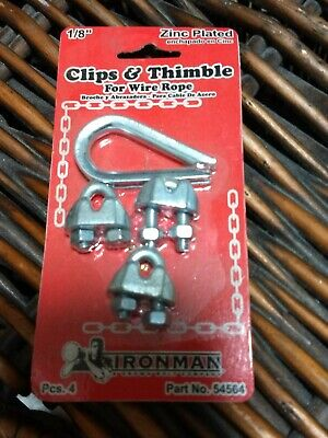"1/8"" Cable Clips/Thimble Set Zinc Plated Steel U-Bolt For Wire Rope"