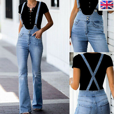 Women Casual Trousers Overalls Jeans Denim Slim Fit Jumpsuit Dungarees Playsuit