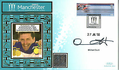 2002 Commonwealth Games Benham Cover Signed Pistol Shooter Michael Gault