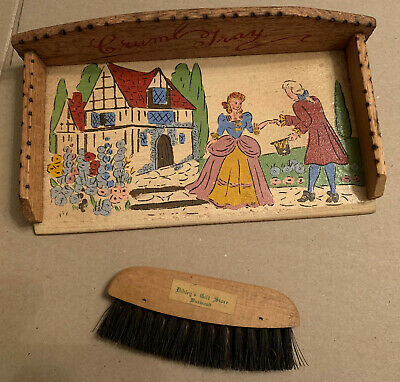 ANTIQUE VINTAGE | WOODEN HAND PAINTED CRUMB TRAY & BRUSH SET - Excellent Conditi