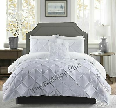 White Pinch Pleats Pintuck Duvet Cover Bedding Set Double King Size Quilt Cover