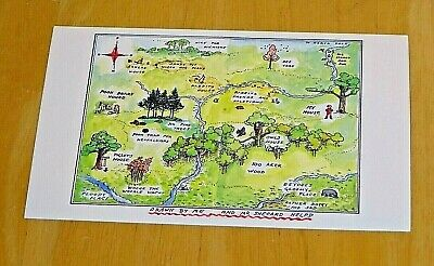 Winnie-The-Pooh Printed Postcard ~ A Map Of One Hundred Acre Wood ~ New