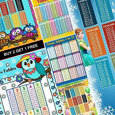 Times Tables A4 A3 Poster Wall Chart Education Kids Multiplication Maths School