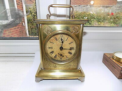 Rare Antique St U.s.a. Brass Bell Strike Alarm Carriage Clock (Like Junghans)