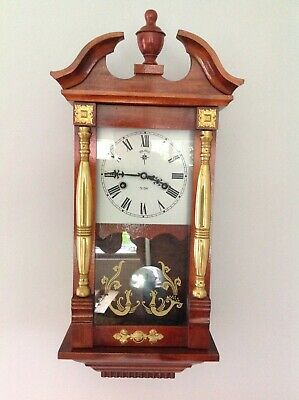 Polaris vintage wall clock pendulum 31 day chiming working complete with key