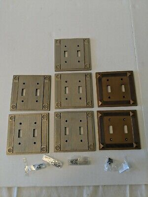 """Vintage American Tack Double Light Switch Wall Plates 5"""" Set Of 7 Heavyweight VG"""