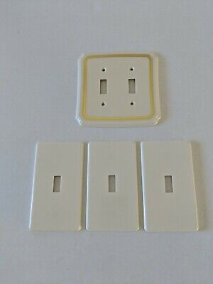 Set Of 4 Vintage American Tack Off White Colored Light Switch Wall Plates