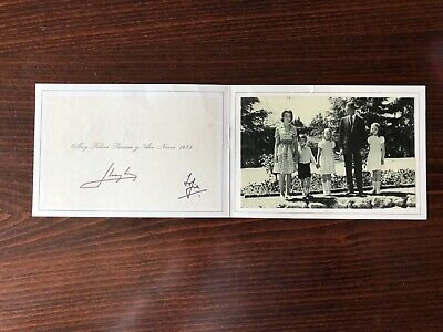 Juan Carlos & Sofia King of Spain hand signed Christmas card 1st year as KING
