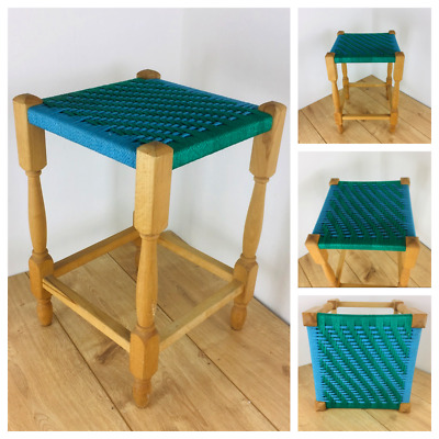 Vintage Rustic Stool String Top with Twisted Wood Legs blue green two tone retro