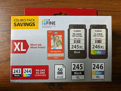 Canon 245 BLACK/246 COLOR FINE Ink Cartridges 2-Pack w/ Photo Paper BRAND NEW
