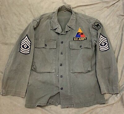 WWII US ARMY HBT UTILITY JACKET 81st Infantry Korea Era Armored Patch First SGT