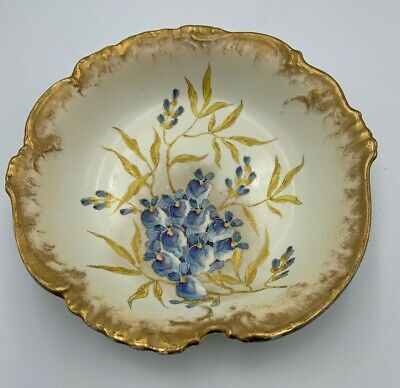Antique ROYAL BONN Franz Anton Mehlem Hand Painted Porcelain Bowl Violets Gilt