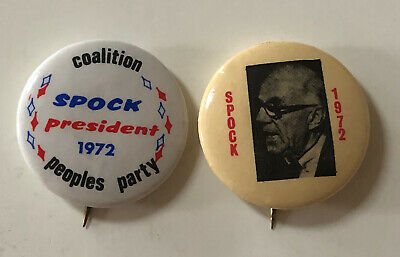 Lot of 2 Rare 1972 DR. BENJAMIN SPOCK for PRESIDENT Pinback Pins PEOPLES PARTY