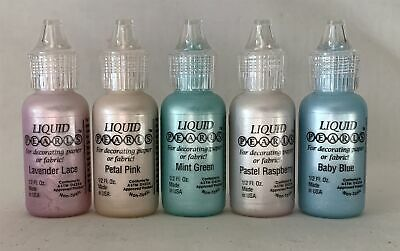 Job Lot 5 Used / Part Used LIQUID PEARLS Paper & Fabric Crafting Ink