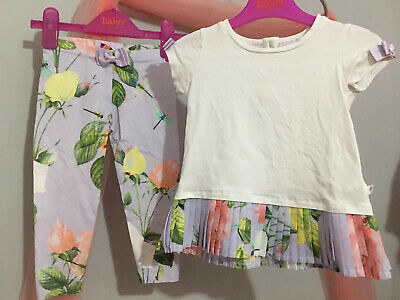 Baby Girls Designer Ted Baker Lilac Floral Pleat Top Leggings Outfit 18-24m💜💜