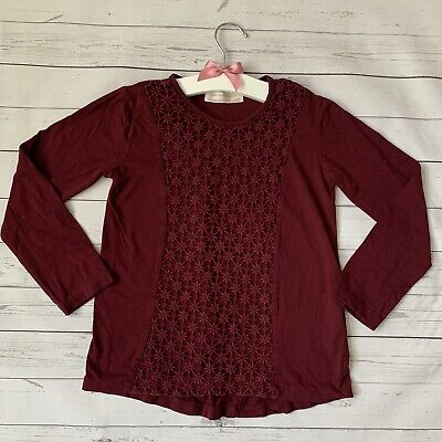 Girls 7 Years - Long Sleeved T-shirt Top - ZARA Burgundy Red Floral Cut Out