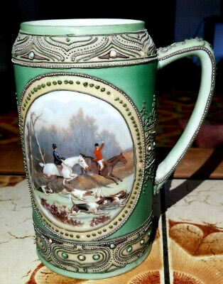 Signed Nippon Hand Painted Moriage Beer Stein W English Fox Hunting Scene 1905