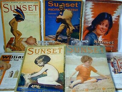 SEVEN 1912 -1915 SUNSET PACIFIC WITH GREAT CONTENT + PHOTOS + 150 pgs GREAT ADS