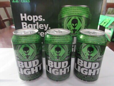 "3 Bud Light "" STORM AREA 51 GREEN ALIEN"" New ""LIMITED EDITION BEER CANS. EMPTY"
