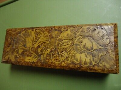 Antique Pyrography FLEMISH Wood Trinket BOX  # 681 with Flowers TIES GLOVES