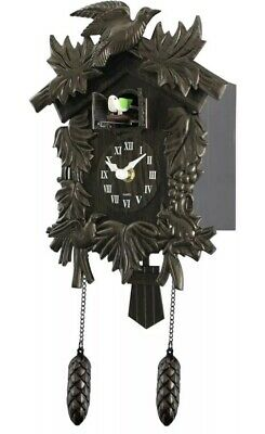 Acctim Hamburg Cuckoo Pendulum Bronze Wood Effect Antique Wall Clock New