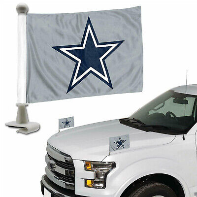 "Football Dallas Cowboys Flags Set of Two Car Hood Trunk 4"" x 6"" Double Sided"