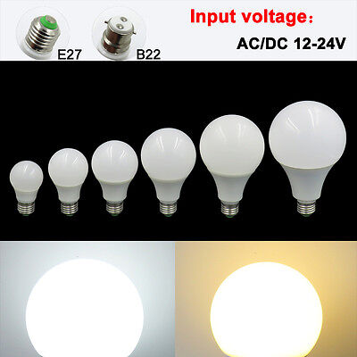 10x E27/B22 3W 5W 7W 9W 12W 15W LED Light Lamp 12-24V Globe Lights Bulb #T