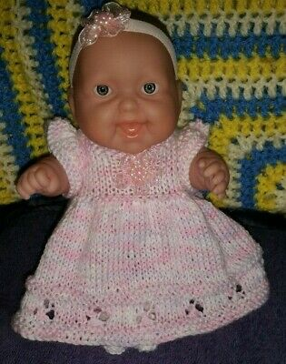 """3 Pce Dress Set In Pink & White To Fit  8"""" Chubby Berenguer Or Similair"""