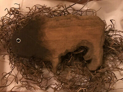 Buffalo Bison Handmade Carved Wood Ornament Folk Art