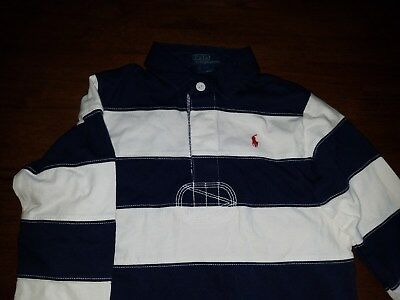 Polo Ralph Lauren Boys Youth Blue White Striped Rugby Size 4 Nwt New