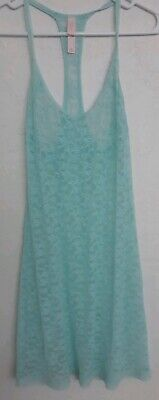 New without tags! VICTORIAS SECRET Lace Gown Blue Sheer Lingerie Size Medium