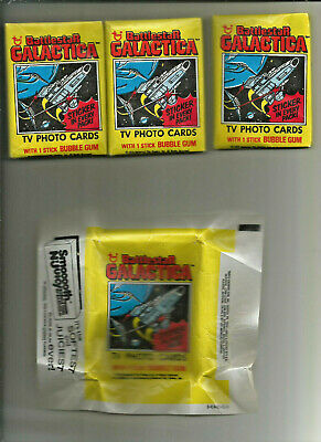 1978 Topps Battlestar Galactica 3 Sealed Wax Packs+12 cards+1 Wrapper 16 Pc Lot*