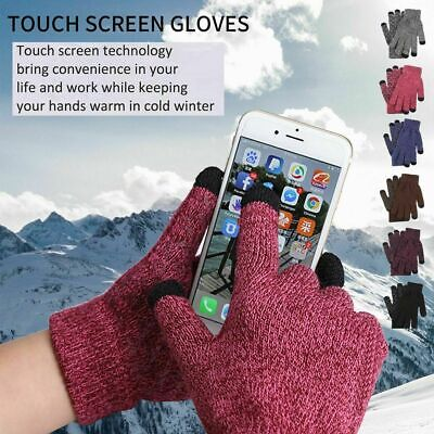 Men Women Winter Snow Gloves Windproof Warm Thick Knit Touch Screen Mittens Gift