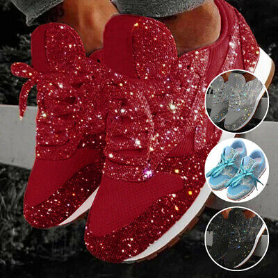 Pair Women Ladies Sequin Glitter Lace-Up Running Shoes Athletic Low Top Sneakers