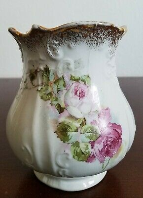 "Antique Victorian Floral Pink White Transferware Vase 5""T Marked SIGSBEE"